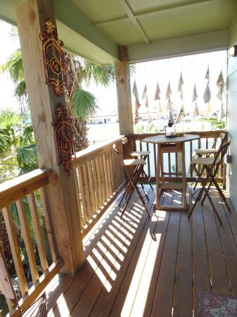Click to enlarge image Deck/balcony outside front door for Casita Jardin. - Casita Jardin, 1 Bedroom, 1 Bath Upper Floor Bungalow, Sleeps 2, - No children, No Pets, Walk to Restaurants, Nightlife, and Shopping