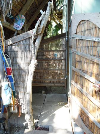 Click to enlarge image Large outdoor shower. - Casita Jardin, 1 Bedroom, 1 Bath Upper Floor Bungalow, Sleeps 2, - No children, No Pets, Walk to Restaurants, Nightlife, and Shopping